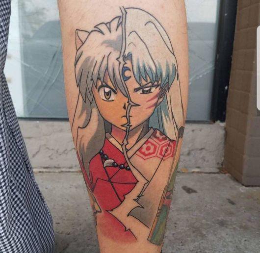 tatuagem de anime aquarelada desenho