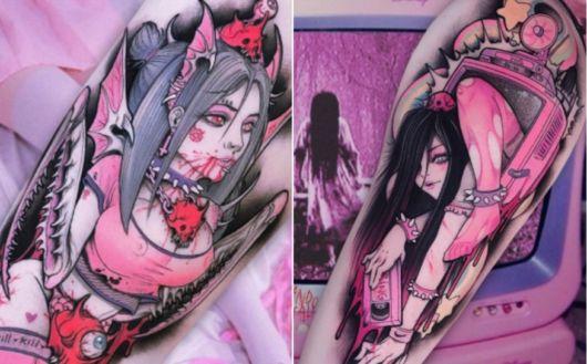 tatuagem de anime pintura 3D