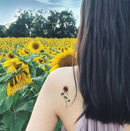 tatuagem pequena girassol