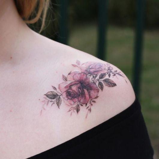 tatuagem moderna rosa