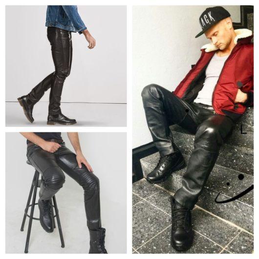 calça de couro masculina