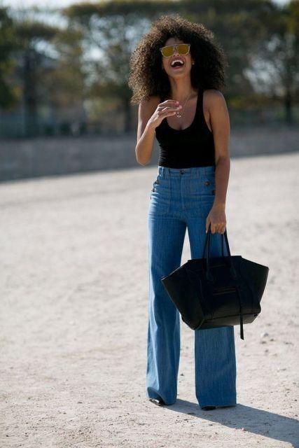 look calça jeans pantalona