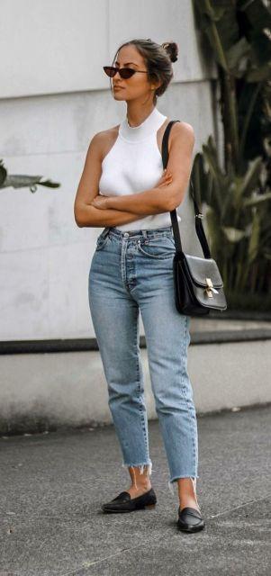 look calça de cintura alta