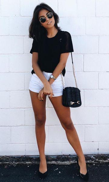 look casual com short branco