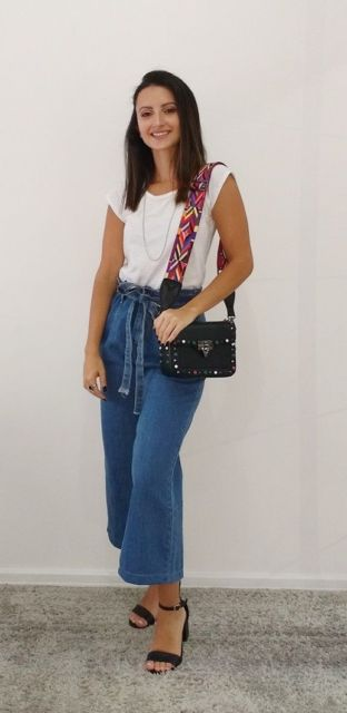 look calça pantacourt jeans
