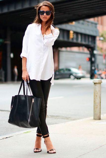 look calça preta com camisa branca feminina