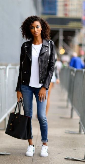 look com jaqueta de couro preta