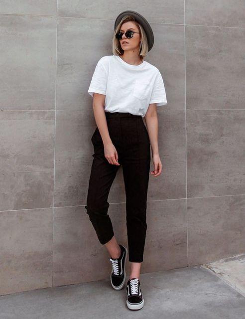 look calça alfaiataria cintura alta