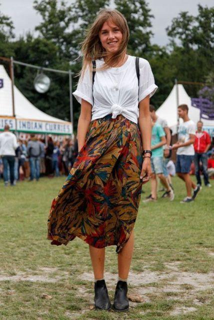 look festival de música com saia