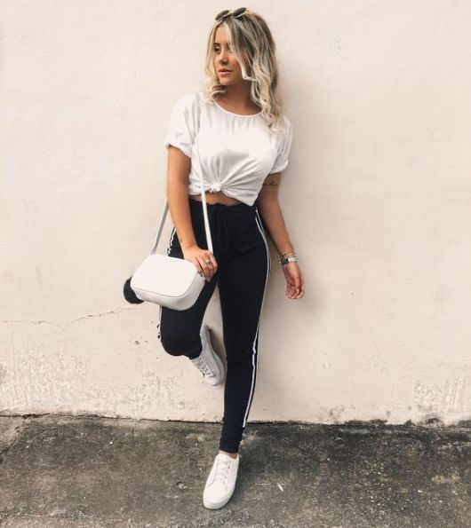 look calça preta esportiva