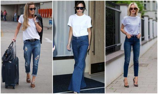 como usar camiseta com calça jeans