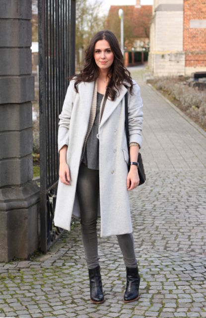 look com casaco longo cinza