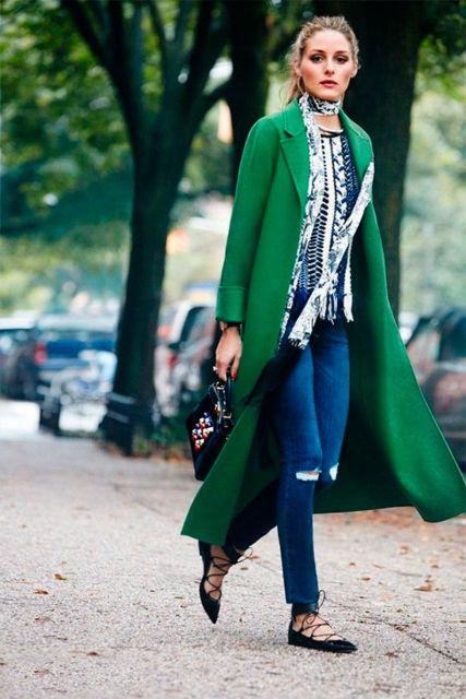 look casaco longo verde