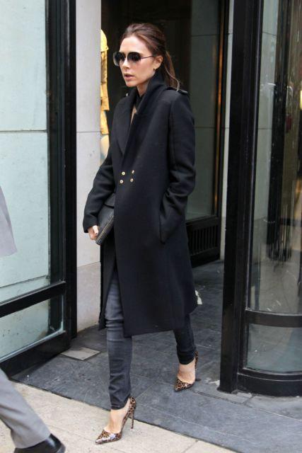 look com casaco preto longo