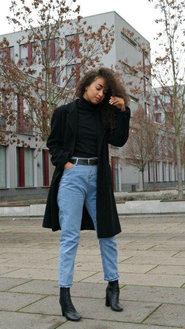 look dia a dia casaco preto