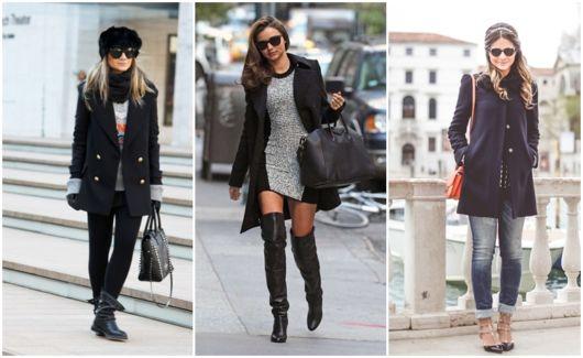 looks com casaco preto