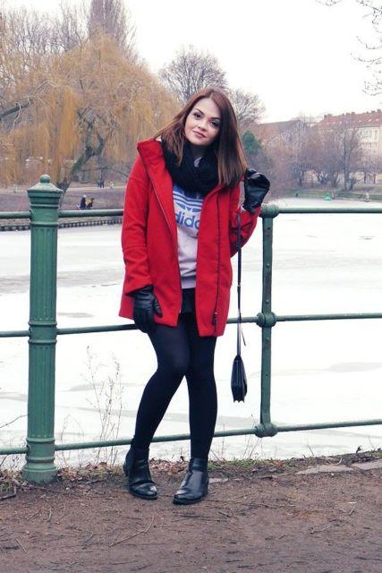 look casaco vermelho