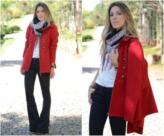 look com casaco vermelho de lã batida