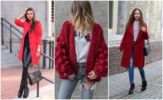looks com casaco vermelho