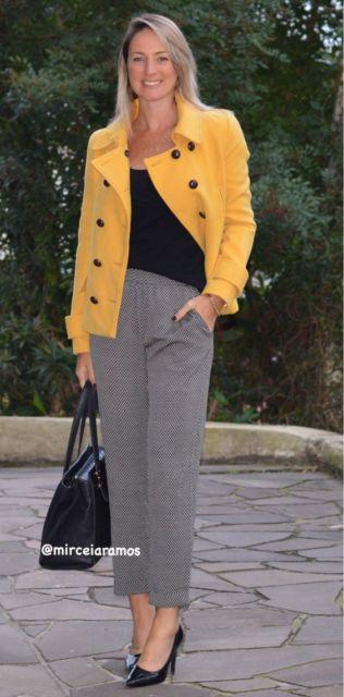 look casaco de inverno amarelo mostarda
