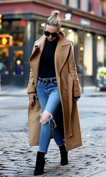 look casaco longo com calça jeans