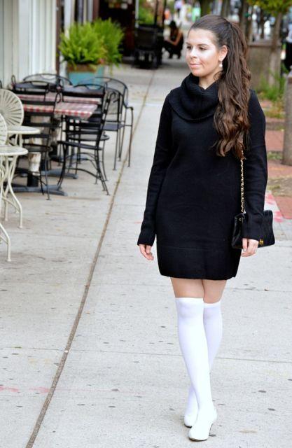 look vestido de inverno preto