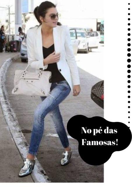 kendall jenner veste jeans, blazer branco e oxford.