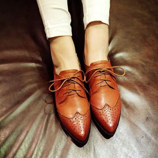 imagem de sapato bico fino marrom.