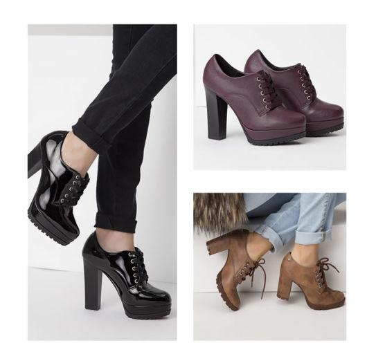 modelos usam sapato fechado de salto nas cores preto,vinho e bege/areia.