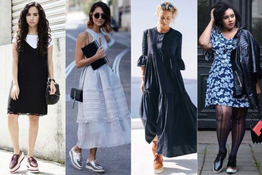 modelos usam vestidos e sapato oxford.