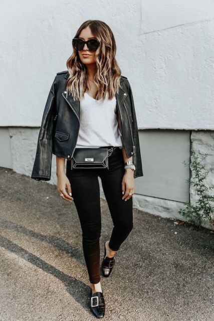 look com pochete de couro preta