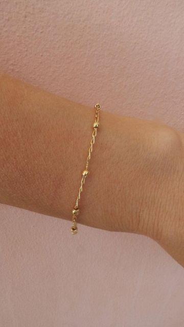 pulseira com bolinhas de ouro