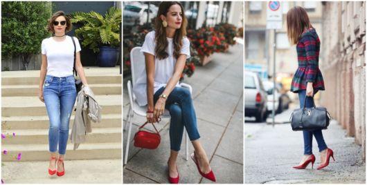 como usar calça jeans com sapato vermelho