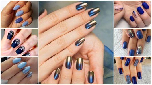 tons de azul e ideias de nail art