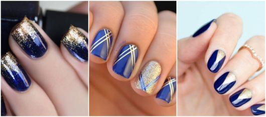 nail art azul e dourado