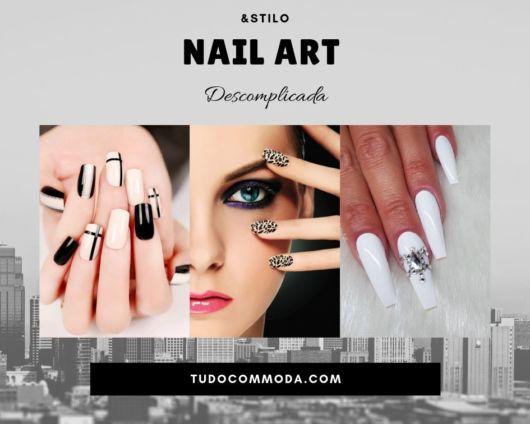 modelos com unhas decoradas pintadas nas cores preto, branco e com pedrarias.