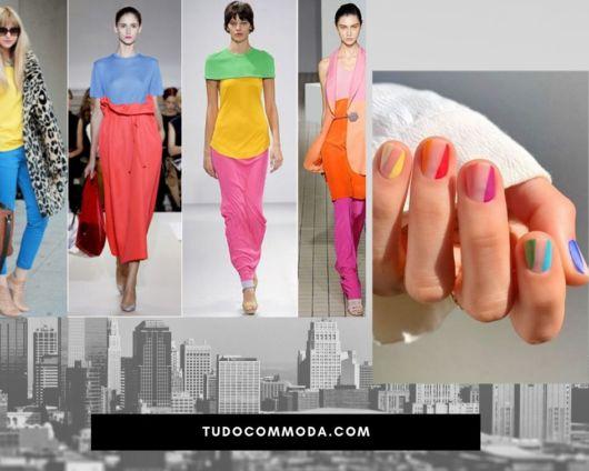 unhas pintadas nas mesmas cores coloridas das roupas dos modelos da passarela.