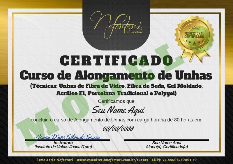 Certificado - curso de alongamento de unhas Joana D'arc e Nefertari