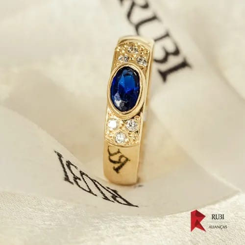 anel arquitetura topázio azul