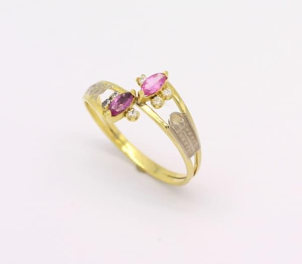 anel delicado turmalina rosa