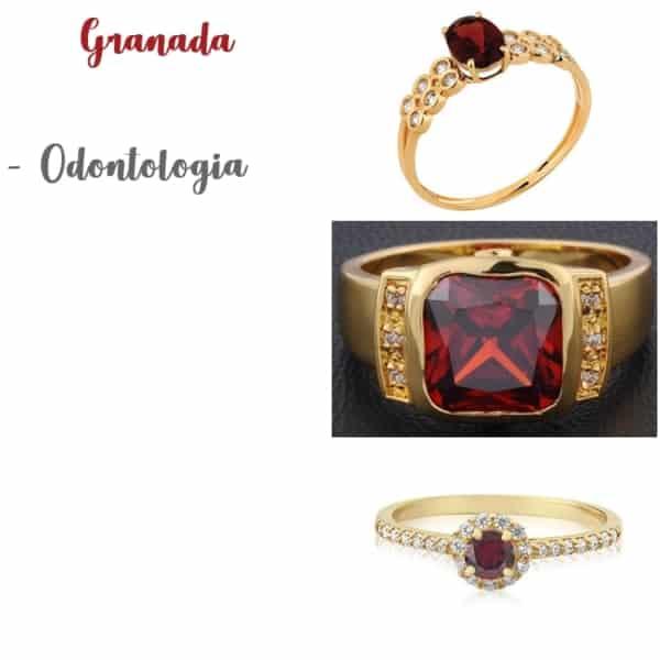 anel de pedra granada