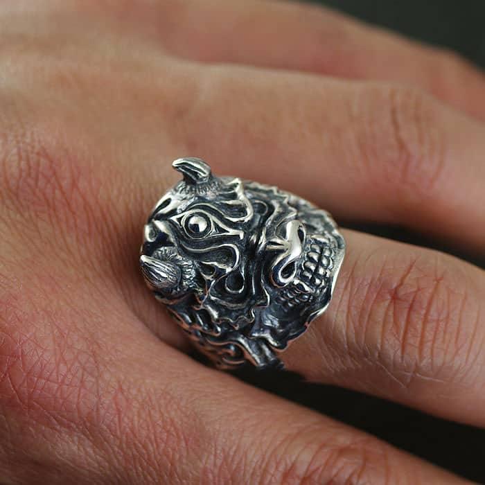 anel de prata gótico