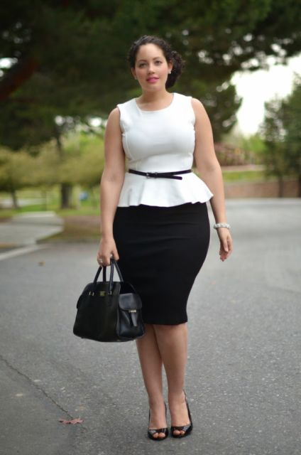 look plus size preto e branco