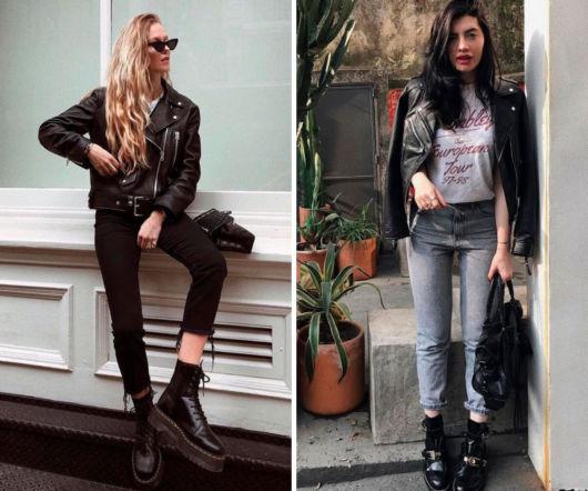 modelo veste calça jeans, coturno preto e jaqueta.