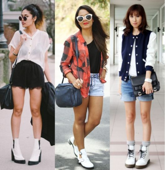 modelos usam shorts e bota branca tratorada.