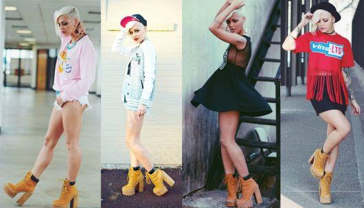 modelos usam bota marrom com vestido, jaqueta e bllusas.