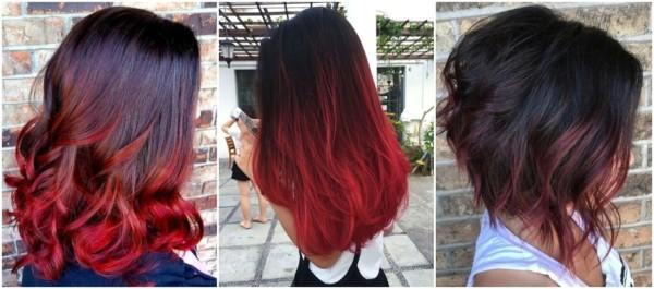 cabelo preto com pontas vermelhas