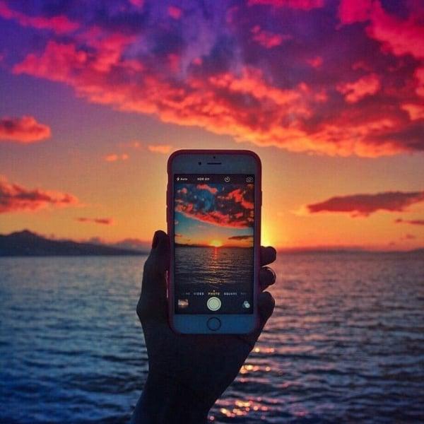 foto com pôr do sol