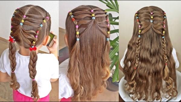 penteado com ligas entrançado com mechas