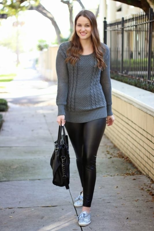 look de inverno com legging de couro